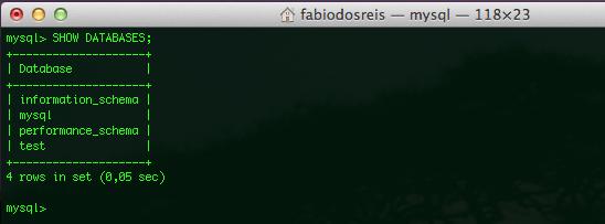 MySQL para Mac OS X Yosemite e Mavericks - SHOW DATABASES