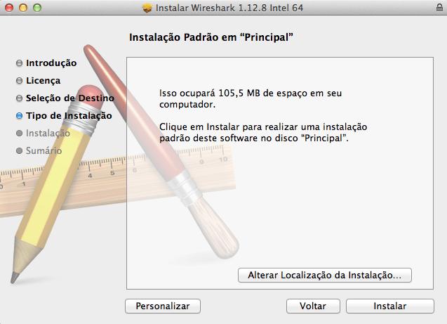 Wireshark no Mac OS X - Instalação - Tipo