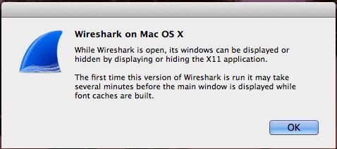 Wireshark no Mac OS X - Mensagem do X11