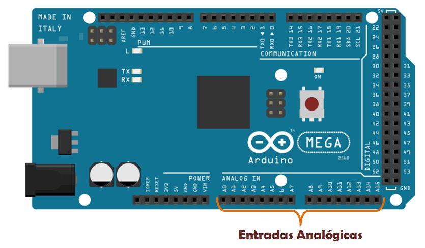 Entradas Analógicas no Arduino Mega