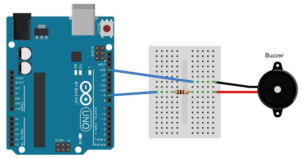 Protoboard cm buzzer e funções Tone e noTone no Arduino