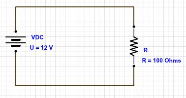 Circuito com resistor e fonte de 12V