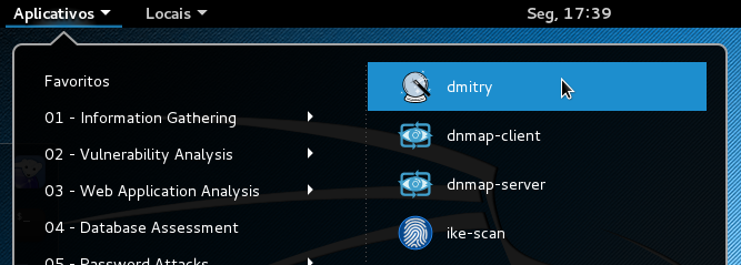 Abrindo o DMitry no Kali Linux