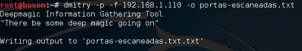 Salvando em arquivo o escaneamento de portas TCP no Dmitry