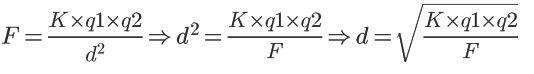 Calcular distância com a Lei de Coulomb