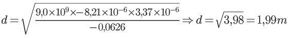 Calculando distância via Lei de Coulomb