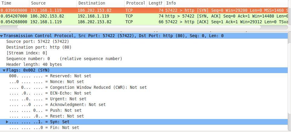 Handshake de três vias TCP