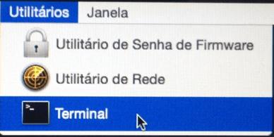Menu Utilitários - Abrir terminal no OS X