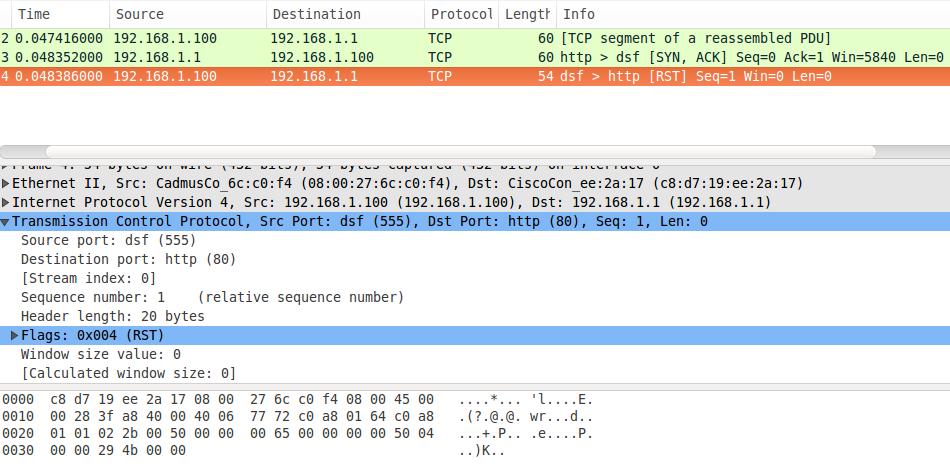 Captura de pacote TCP com Wireshark e packETH no Ubuntu