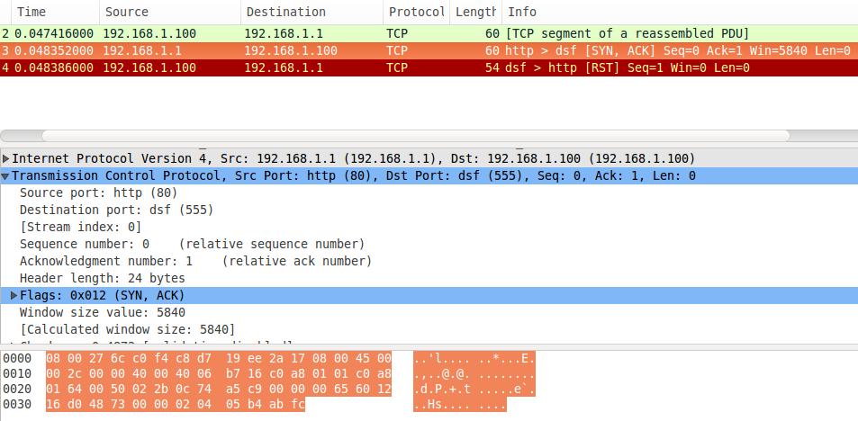 Captura de pacote TCP com wireshark a partir do packETH
