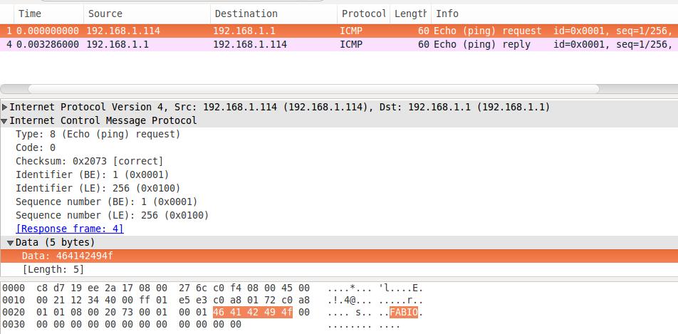 packETH - Capturando ping no Wireshark