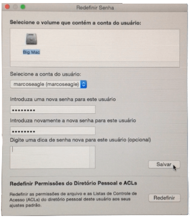 Resetar senha do usuário no Mac OS X
