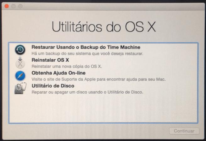 Tela de Utilitários - Mac OS X