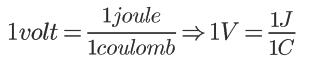 Fórmula Volt = Joule / Coulomb