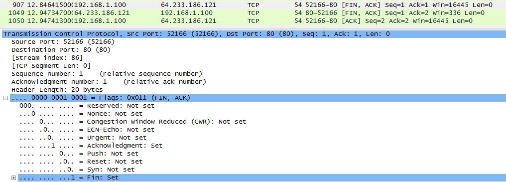Finalizando uma conexão TCP