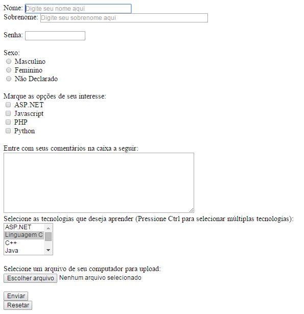 Formulário HTML5 e PHP