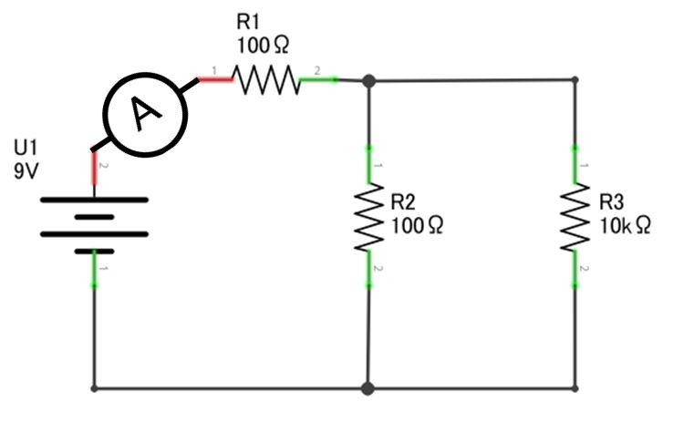 Medindo corrente elétrica em R1