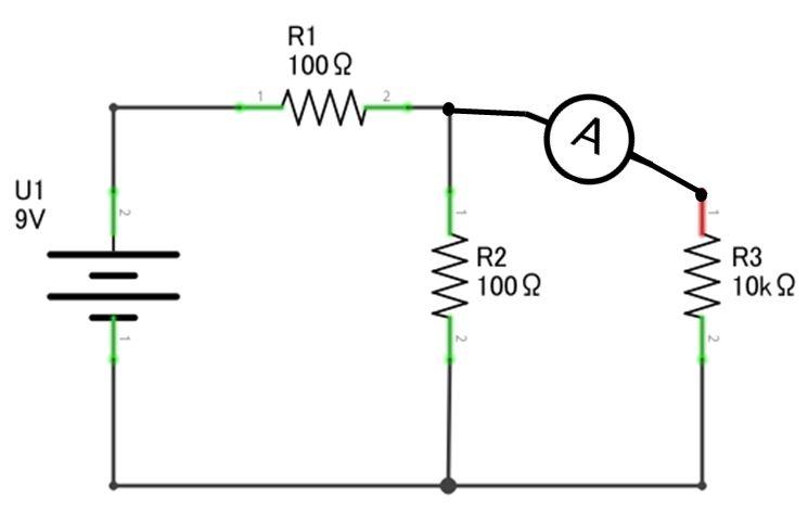 Medindo a corrente elétrica em R3 com o multímetro