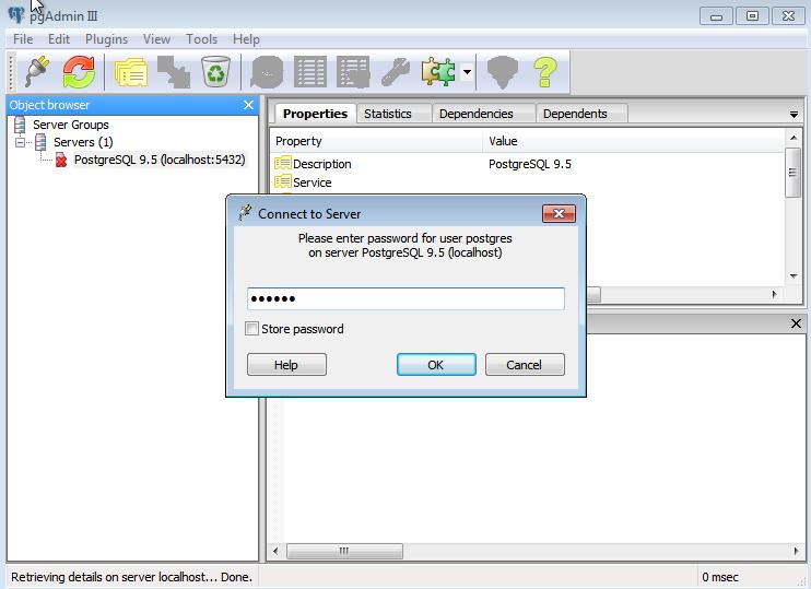 Senha de superusuário no pgAdmin III - postgreSQL