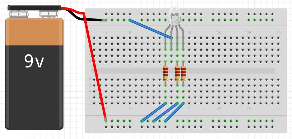 LED RGB conectado a uma bateria