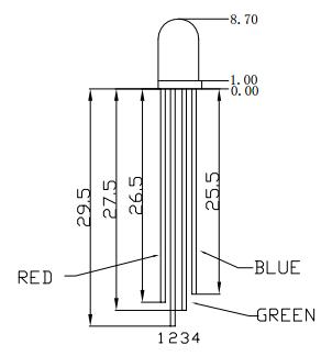 LED RGB - Dimensões e pinagem