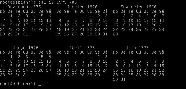 Comando cal do ano de 1975 no Linux Fedora
