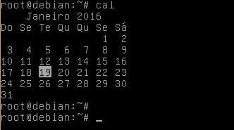 Comando cal no Linux Debian - calendário no terminal
