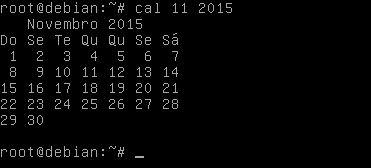 Comando cal no Linux Ubuntu mostrando mês específico