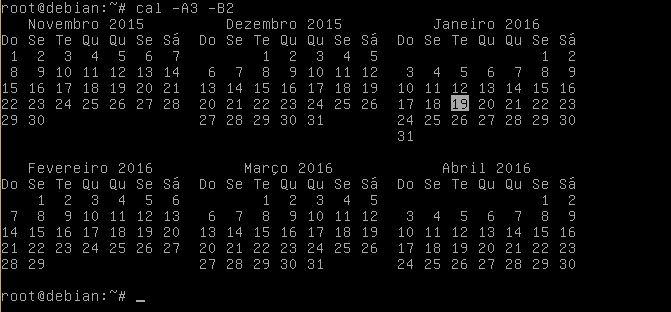 Comando cal no Linux com meses anteriores e posteriores