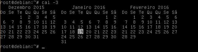 Comando cal mostrando três meses no Linux Debian