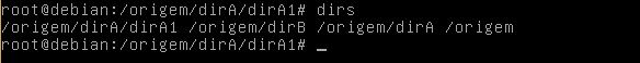 Comando dirs no Linux Debian