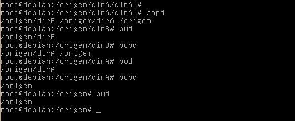 Comando popd no Linux