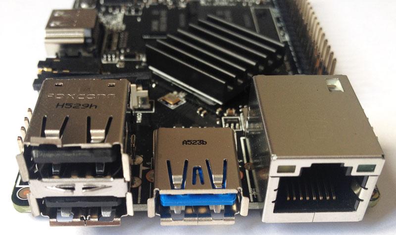 Roseapple Pi - Portas USB e Ethernet