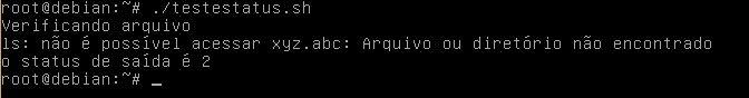 Status de saída padrão em funções do Linux