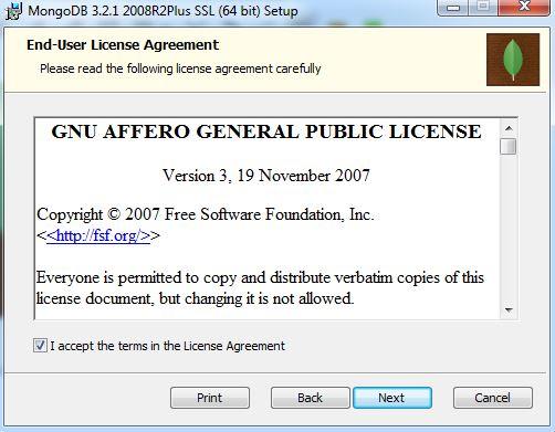 MongoDB - Licença GPL GNU no Windows