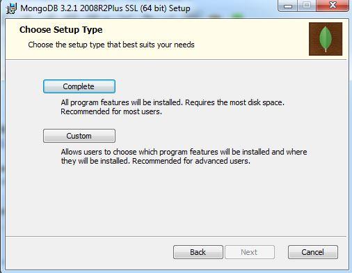 Tipo de instalação do MongoDB no Windows