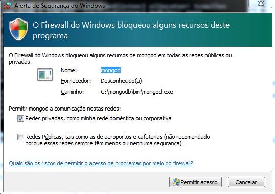Firewall do Windows - acesso ao MongoDB