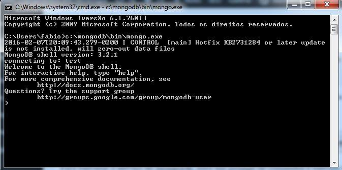 Prompt do cliente do MongoDB no Windows