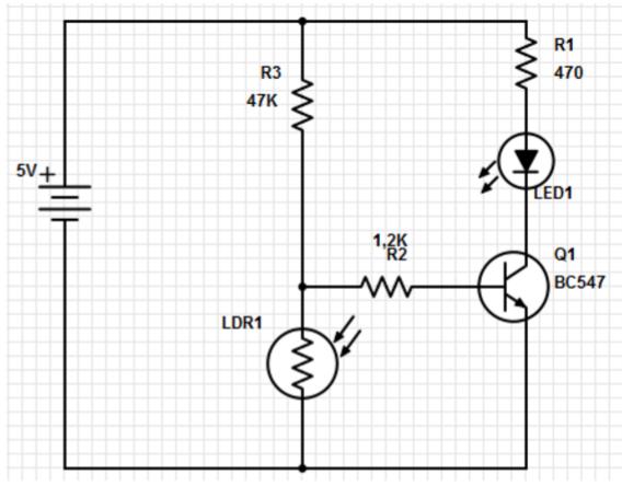 LDR - Circuito acionador de LED