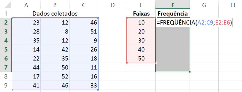 Microsoft Excel - Distribuição de frequência com função estatística