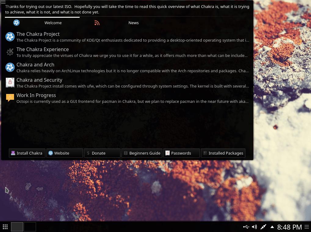 Chakra Linux - Abrindo o instalador