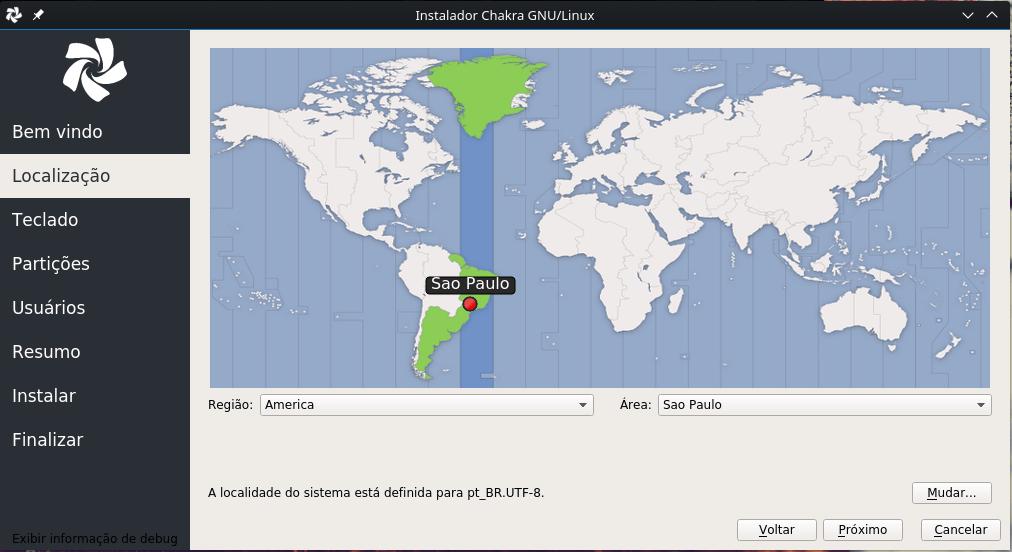 Linux Chakra - Fuso Horário e locale