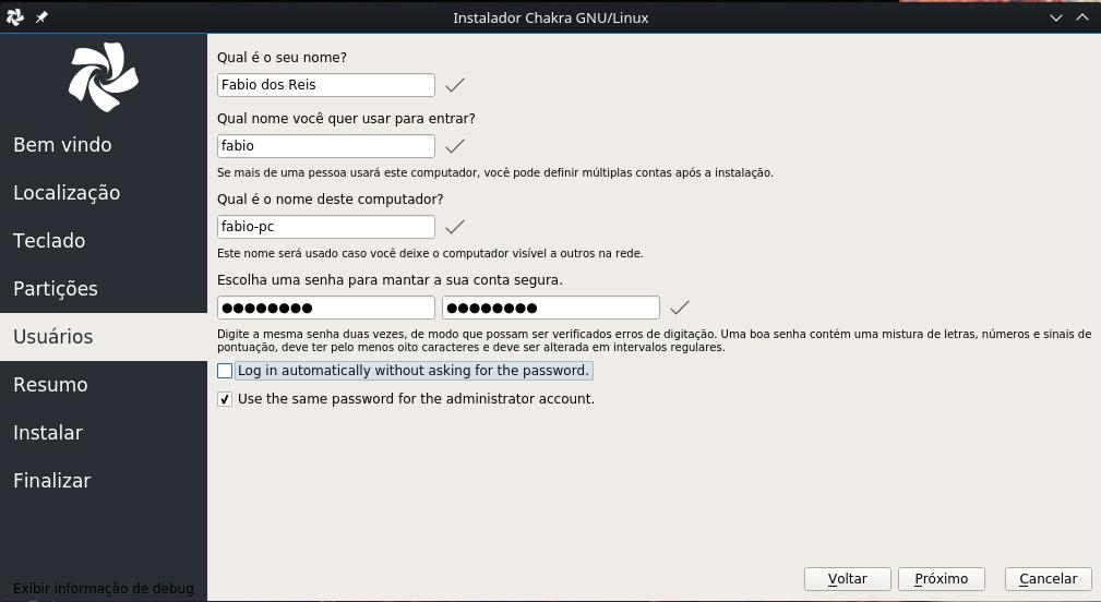 Chakra Linux - criar usuário no sistema