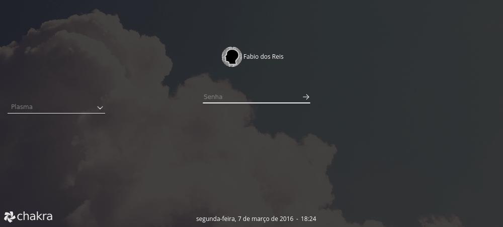 Chakra Linux - Fazendo Logon no Sistema