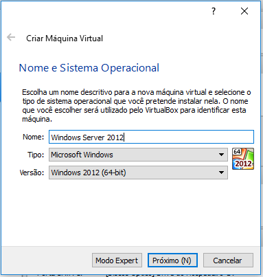 Criar VM no Oracle VirtualBox
