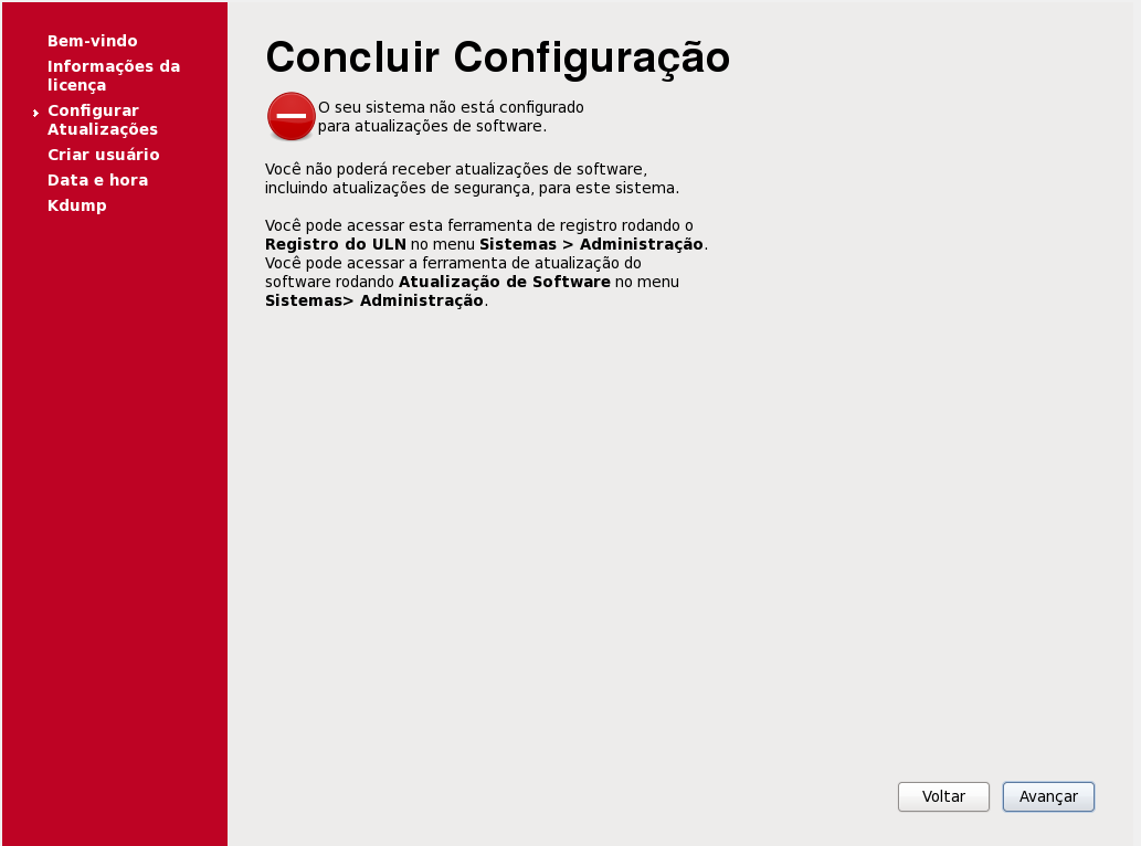 Finalizando a instalação do Oracle Linux