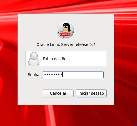 Senha do usuário no Oracle Linux Server 6.7
