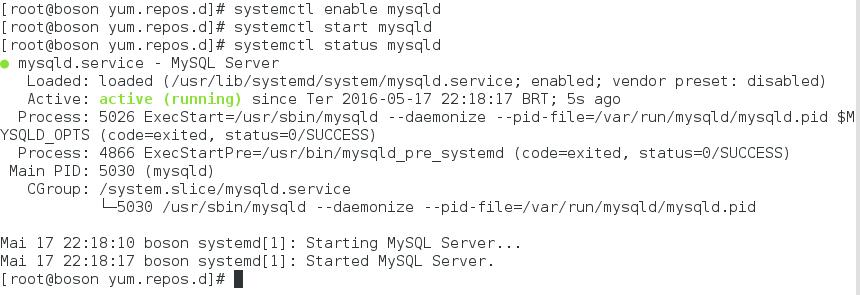 serviço mysqld em execução no Oracle Linux