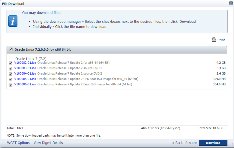 Tela de Download - Oracle Linux 7