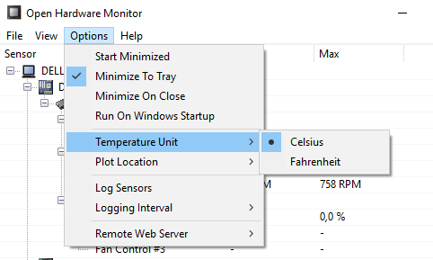 Open Hardware Monitor Opções
